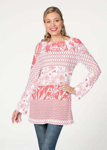 Patchwork Coral (7900) ~ Banded Boatneck Tunic
