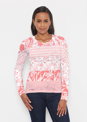 Patchwork Coral (7900) ~ Signature Long Sleeve Crew Shirt