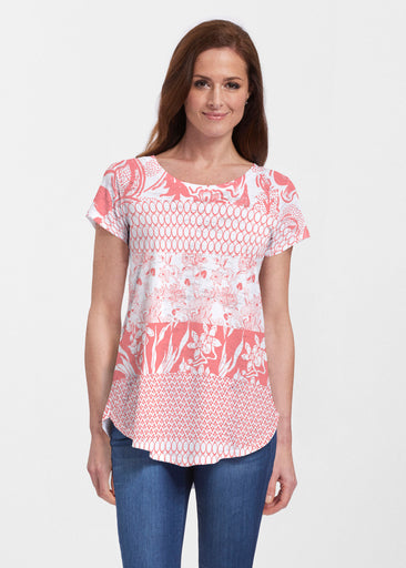 Patchwork Coral (7900) ~ Short Sleeve Scoop Neck Flowy Tunic