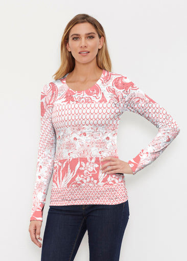 Patchwork Coral (7900) ~ Thermal Long Sleeve Crew Shirt