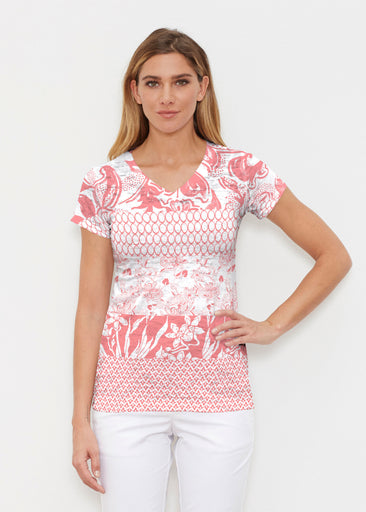Patchwork Coral (7900) ~ Signature Cap Sleeve V-Neck Shirt