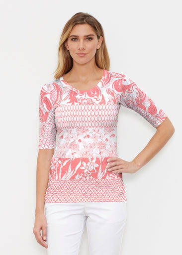 Patchwork Coral (7900) ~ Elbow Sleeve Crew Shirt