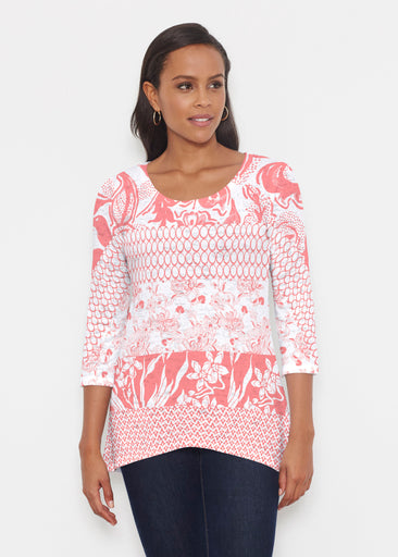 Patchwork Coral (7900) ~ Katherine Hi-Lo Thermal Tunic