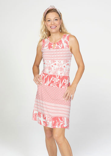 Patchwork Coral (7900) ~ French Terry Keyhole Sleeveless Dress