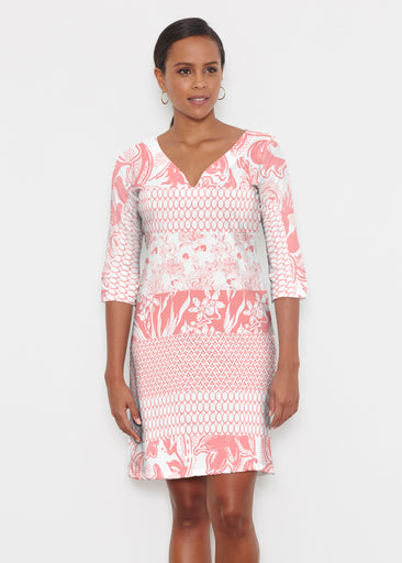 Patchwork Coral (7900) ~ Classic 3/4 Sleeve Sweet Heart V-Neck Dress