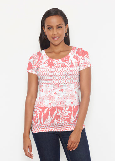 Patchwork Coral (7900) ~ Short Sleeve Scoop Shirt