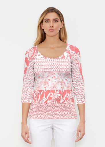 Patchwork Coral (7900) ~ Signature 3/4 Sleeve Scoop Shirt
