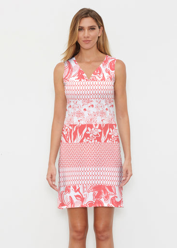 Patchwork Coral (7900) ~ Vivid Sleeveless Dress