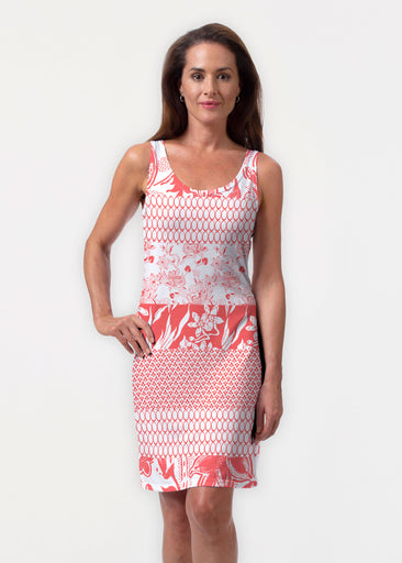 Patchwork Coral (7900) ~ Vivid Scoop Tank Dress