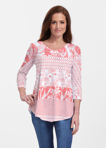 Patchwork Coral (7900) ~ V-neck Flowy Tunic