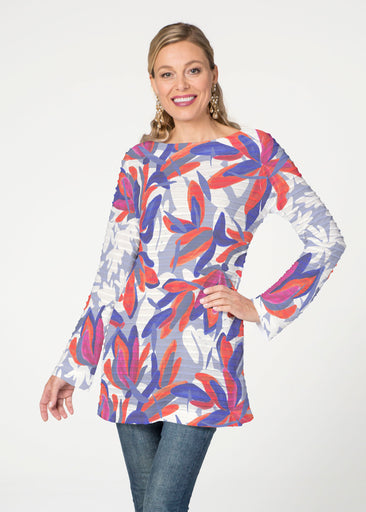 Colorful Palm Blue (7901) ~ Banded Boatneck Tunic