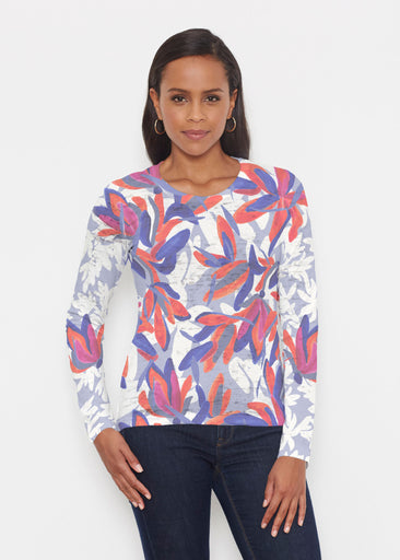 Colorful Palm Blue (7901) ~ Signature Long Sleeve Crew Shirt