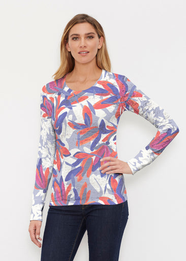Colorful Palm Blue (7901) ~ Thermal Long Sleeve Crew Shirt