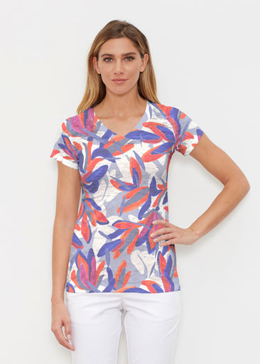 Colorful Palm Blue (7901) ~ Signature Cap Sleeve V-Neck Shirt