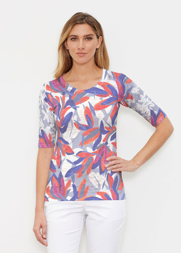 Colorful Palm Blue (7901) ~ Elbow Sleeve Crew Shirt