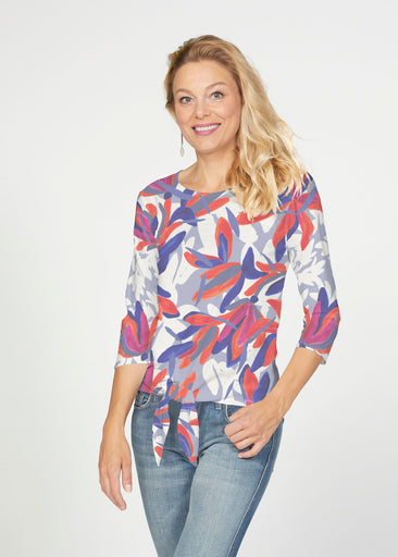Colorful Palm Blue (7901) ~ French Terry Tie 3/4 Sleeve Top