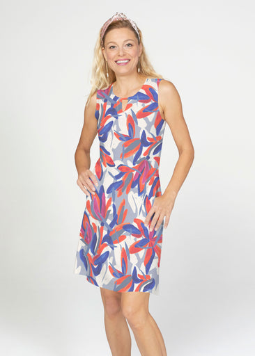 Colorful Palm Blue (7901) ~ French Terry Keyhole Sleeveless Dress