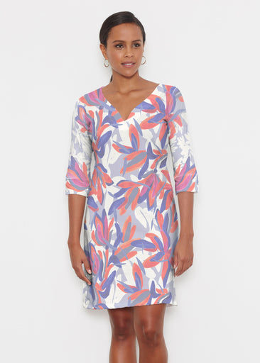Colorful Palm Blue (7901) ~ Classic 3/4 Sleeve Sweet Heart V-Neck Dress