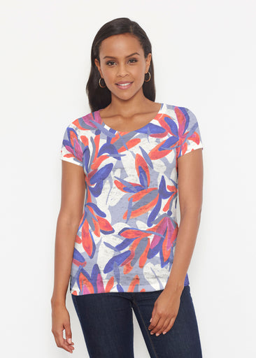 Colorful Palm Blue (7901) ~ Short Sleeve Scoop Shirt