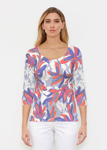 Colorful Palm Blue (7901) ~ Signature 3/4 Sleeve Scoop Shirt