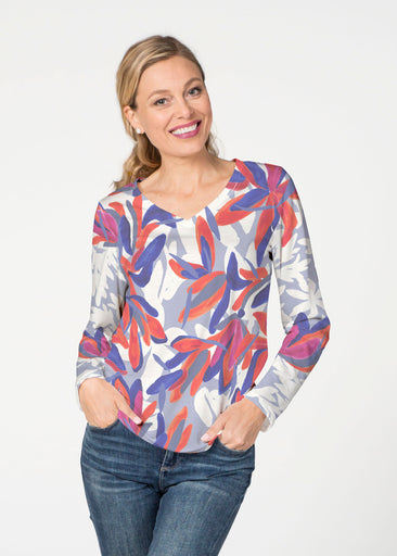 Colorful Palm Blue (7901) ~ Smooth Terry V-neck Top