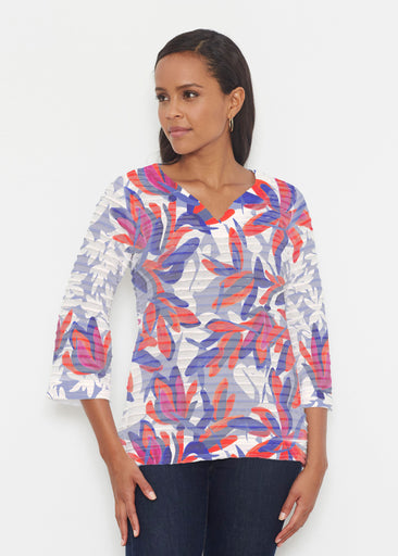 Colorful Palm Blue (7901) ~ Banded 3/4 Bell-Sleeve V-Neck Tunic