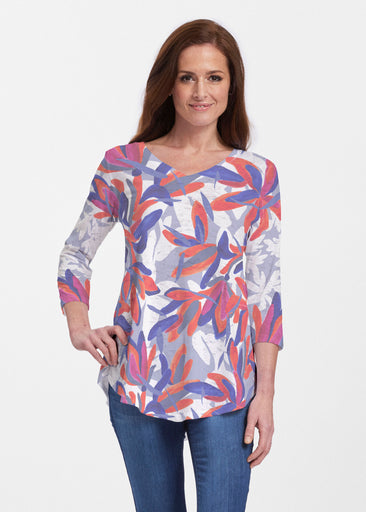 Colorful Palm Blue (7901) ~ V-neck Flowy Tunic