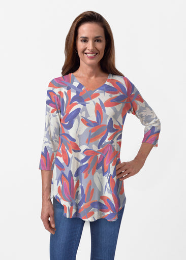 Colorful Palm Blue (7901) ~ Butterknit V-neck Flowy Tunic