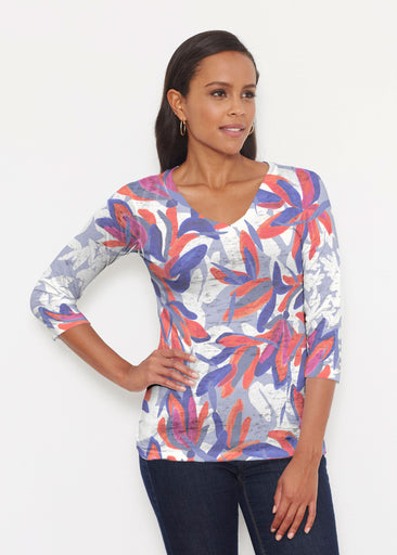 Colorful Palm Blue (7901) ~ Signature 3/4 V-Neck Shirt