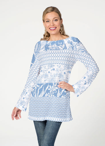 Patchwork Blue (7902) ~ Banded Boatneck Tunic
