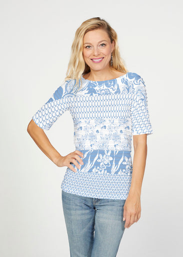 Patchwork Blue (7902) ~ Banded Elbow Sleeve Boat Neck Top