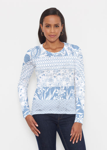 Patchwork Blue (7902) ~ Signature Long Sleeve Crew Shirt