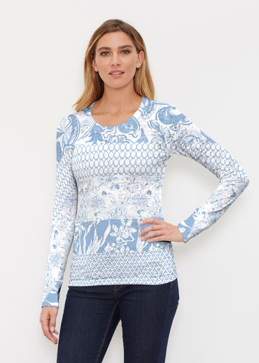 Patchwork Blue (7902) ~ Thermal Long Sleeve Crew Shirt