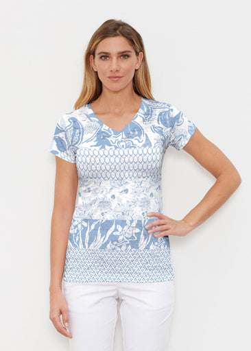 Patchwork Blue (7902) ~ Signature Cap Sleeve V-Neck Shirt