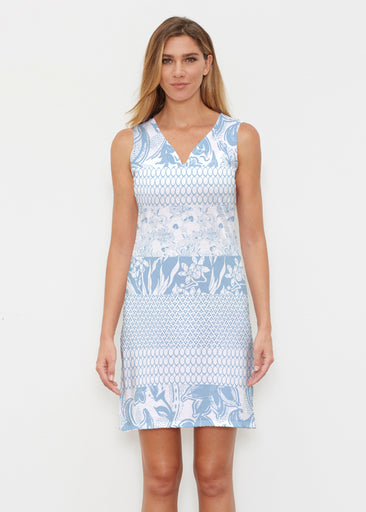 Patchwork Blue (7902) ~ Classic Sleeveless Dress