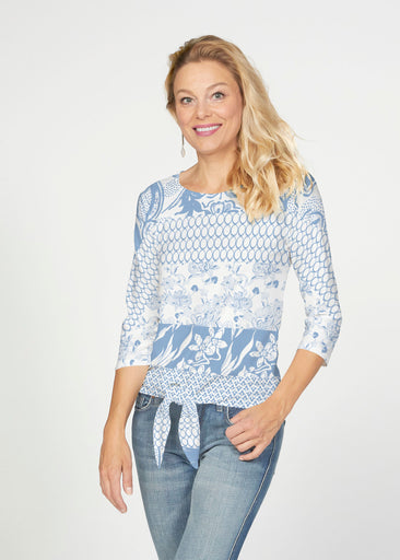 Patchwork Blue (7902) ~ French Terry Tie 3/4 Sleeve Top