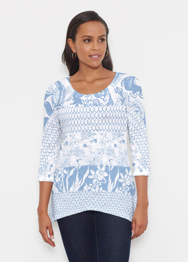 Patchwork Blue (7902) ~ Katherine Hi-Lo Thermal Tunic