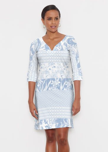 Patchwork Blue (7902) ~ Classic 3/4 Sleeve Sweet Heart V-Neck Dress