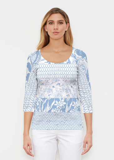 Patchwork Blue (7902) ~ Signature 3/4 Sleeve Scoop Shirt
