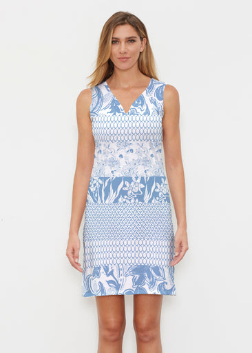 Patchwork Blue (7902) ~ Vivid Sleeveless Dress
