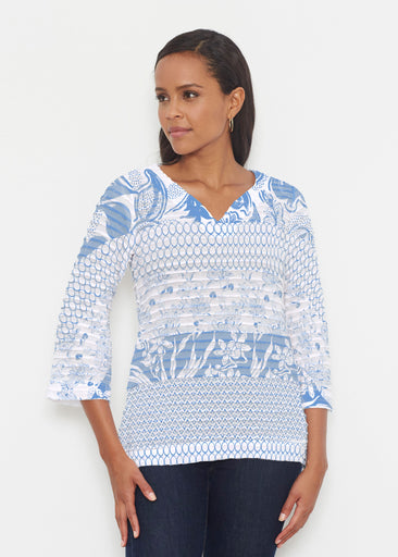 Patchwork Blue (7902) ~ Banded 3/4 Bell-Sleeve V-Neck Tunic
