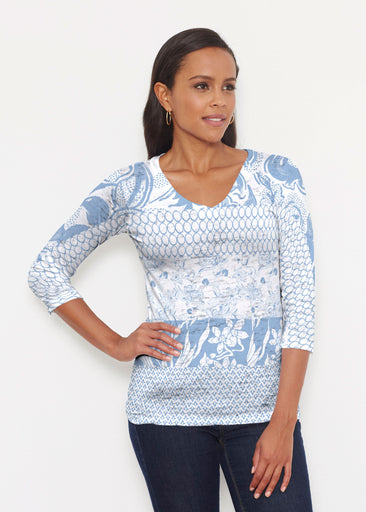 Patchwork Blue (7902) ~ Signature 3/4 V-Neck Shirt
