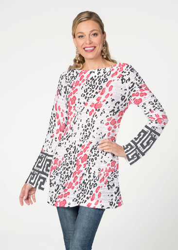 Greek Cat Pink (7903) ~ Banded Boatneck Tunic
