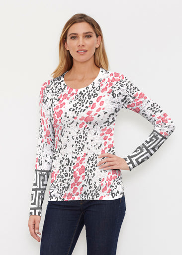 Greek Cat Pink (7903) ~ Thermal Long Sleeve Crew Shirt