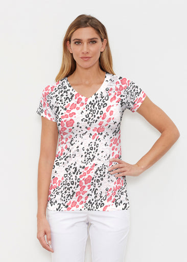 Greek Cat Pink (7903) ~ Signature Cap Sleeve V-Neck Shirt