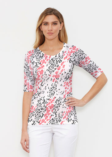 Greek Cat Pink (7903) ~ Elbow Sleeve Crew Shirt