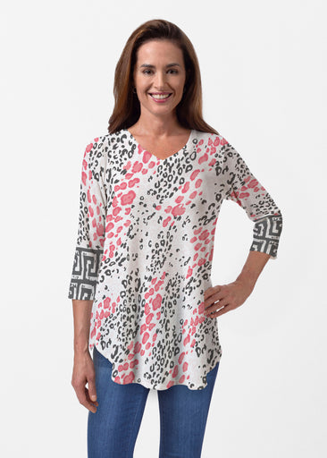Greek Cat Pink (7903) ~ Butterknit V-neck Flowy Tunic
