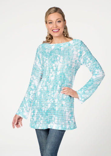 Shadow Aqua (7914) ~ Banded Boatneck Tunic