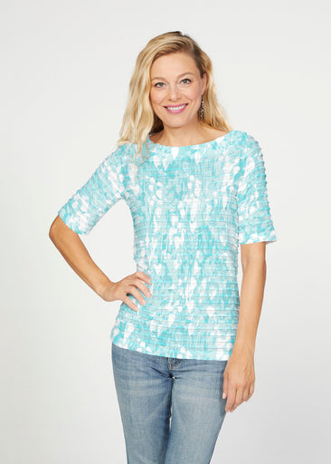 Shadow Aqua (7914) ~ Banded Elbow Sleeve Boat Neck Top