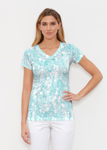 Shadow Aqua (7914) ~ Signature Cap Sleeve V-Neck Shirt